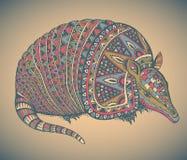 Ejemplo dibujado mano del vector del armadillo Fotografía de archivo libre de regalías