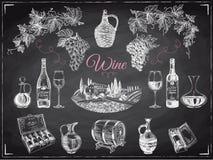 Ejemplo dibujado mano del vector del vino Imagen de archivo