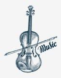 Ejemplo dibujado mano del vector del violín Instrumento musical del bosquejo stock de ilustración