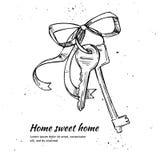 Ejemplo dibujado mano del vector - llaves de la casa Hogar dulce casero Fotos de archivo