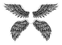 Ejemplo dibujado mano del vector - sistema de alas Bueno contra mal Fotografía de archivo