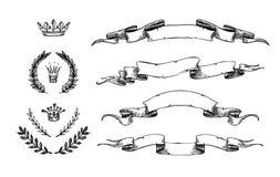 Ejemplo dibujado mano del vector - sistema de cintas y de otros elementos ilustración del vector
