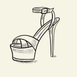Ejemplo dibujado mano del zapato Imagenes de archivo