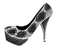 Ejemplo dibujado mano del zapato del tacón alto Foto de archivo