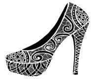 Ejemplo dibujado mano del zapato del tacón alto Imagen de archivo libre de regalías
