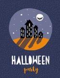 Ejemplo dibujado mano divertida del vector de Halloween Luna Llena asustadiza ilustración del vector