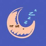 Ejemplo dibujado mano el dormir de la luna ilustración del vector
