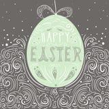 Ejemplo dibujado mano feliz de pascua Huevo del arte de Pascua V creativo Foto de archivo
