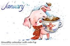 Ejemplo dibujado mano linda de la acuarela del cerdo libre illustration