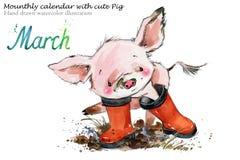 Ejemplo dibujado mano linda de la acuarela del cerdo ilustración del vector