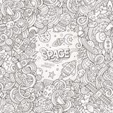 Ejemplo dibujado mano linda del espacio de los garabatos de la historieta ilustración del vector