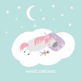 Ejemplo dibujado mano linda del unicornio el dormir de la historieta La magia del vector sueña la tarjeta libre illustration