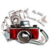 Ejemplo dibujado mano linda del vector de la cámara del vintage ilustración del vector