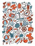 Ejemplo dibujado mano linda del viaje de los garabatos de la historieta Porciones de fondo de los objetos ilustración del vector