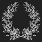 Ejemplo dibujado mano negra blanca del vector de la hoja de Laurel Bay Guirnalda decorativa del laurel del vintage Imágenes de archivo libres de regalías