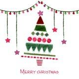 Ejemplo dibujado mano para la Navidad Fotografía de archivo libre de regalías
