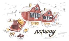 Ejemplo dibujado marcador hecho a mano de los detalles de Noruega Fotos de archivo