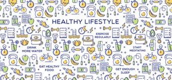 Ejemplo, dieta, aptitud y nutrición sanos del vector de la forma de vida Foto de archivo libre de regalías