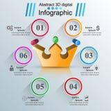 Ejemplo digital Infographic del oro 3D de la corona ilustración del vector
