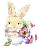 Ejemplo divertido de la acuarela del conejo y de la flor libre illustration