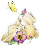 Ejemplo divertido de la acuarela del conejo y de la flor ilustración del vector