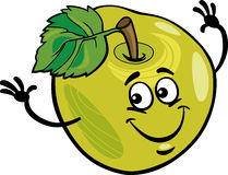 Ejemplo divertido de la historieta de la fruta de la manzana Imágenes de archivo libres de regalías