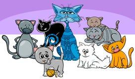 Ejemplo divertido de la historieta del grupo de los animales domésticos de los gatos stock de ilustración