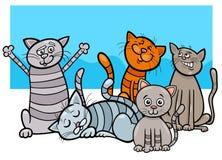 Ejemplo divertido de la historieta del grupo de los gatos ilustración del vector