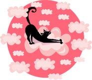 Ejemplo divertido de la impresión del vector con el gato negro, gatito en las nubes Fondo rosado del c?rculo fotografía de archivo