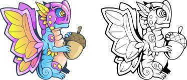 Ejemplo divertido de la pequeña mariposa del dragón de la historieta ilustración del vector