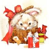 Ejemplo divertido del conejito y de las flores Imágenes de archivo libres de regalías