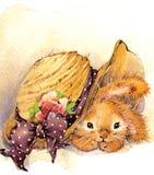 Ejemplo divertido del conejito y de las flores Imagenes de archivo