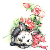 Ejemplo divertido del conejito y de las flores Fotos de archivo