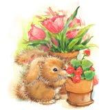 Ejemplo divertido del conejito y de las flores Gráfico de la acuarela Imagen de archivo libre de regalías