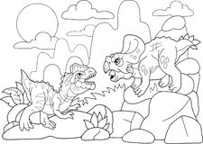 Ejemplo divertido del dinosaurio del libro de colorear prehistórico de las historietas ilustración del vector
