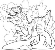 Ejemplo divertido del dinosaurio del libro de colorear prehistórico lindo del dilophosaurus ilustración del vector