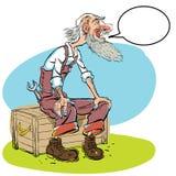 Ejemplo divertido del personaje de dibujos animados del viejo hombre Viejo maestro, anciano que se sienta libre illustration