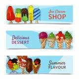 Ejemplo dulce fresco del verano de la bandera del helado y frío natural del vector de la comida Cono sabroso hecho en casa sano d libre illustration