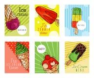 Ejemplo dulce fresco del verano de las tarjetas del helado y frío natural del vector de la comida Cono sabroso hecho en casa sano ilustración del vector