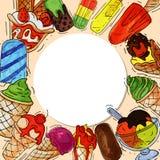 Ejemplo dulce fresco del verano redondo del modelo del helado y frío natural del vector de la comida Cono sabroso hecho en casa s ilustración del vector