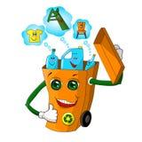 Ejemplo ecológico divertido en el tema del proceso plástico y del uso de materias primas secundarias en la producción stock de ilustración