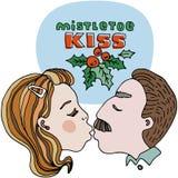 Ejemplo editable del vector del beso del muérdago con título rojo y verde Hojas verdes y bayas rojas Diseño de la plantilla del v Fotos de archivo