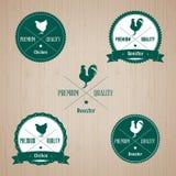 Sistema de la insignia del pollo y del gallo del vintage Imagen de archivo libre de regalías