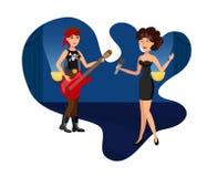 Ejemplo elegante del cantante y de la estrella del rock ilustración del vector