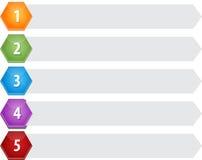 Ejemplo en blanco del diagrama del negocio de los puntos cinco del hexágono Imagenes de archivo
