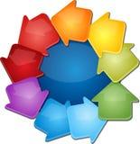 Ejemplo en blanco del diagrama del negocio del ciclo nueve Fotos de archivo libres de regalías