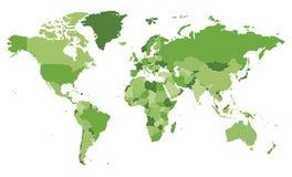 Ejemplo en blanco político del vector del mapa del mundo con diversos tonos del verde para cada país libre illustration