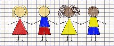 Ejemplo en el estilo de la amistad de los dibujos de los niños Imagen de archivo libre de regalías