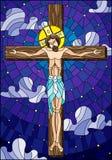 Ejemplo en el tema bíblico, Jesus Christ del vitral en la cruz contra el cielo nublado y las estrellas ilustración del vector