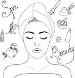 Ejemplo en el tema de la belleza, stock de ilustración